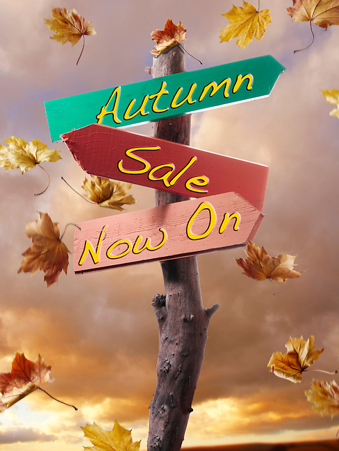 Falling autumn leaves against a sunset cloudy sky with a sign with Autumn sale now on. For retail discount or sales publicity.