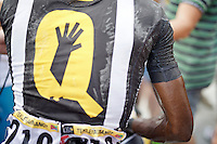 salt on the skin/jersey of Daniel Teklehaimanot (ERI/MTN-Qhubeka) after the stage<br /> <br /> stage 16: Bourg de Péage - Gap (201km)<br /> 2015 Tour de France