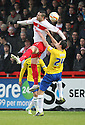Marcus Haber of Stevenagewins a header from Richard Wood of Coventry. Stevenage v Coventry City - npower League 1 - Lamex Stadium, Stevenage - 26th December, 2012. © Kevin Coleman 2012......