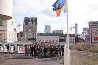 A view of a rally held by The Baras Collective in front of the Bagnolet Town Hall today as they continue to fight an expulsion from 72 René Alazard in Bagnolet, suburb of Paris, France. Jan. 31, 2015.