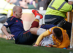 17.02.2019: Motherwell v Hearts: Steven Naismith gets booted in the face by Tom Aldred
