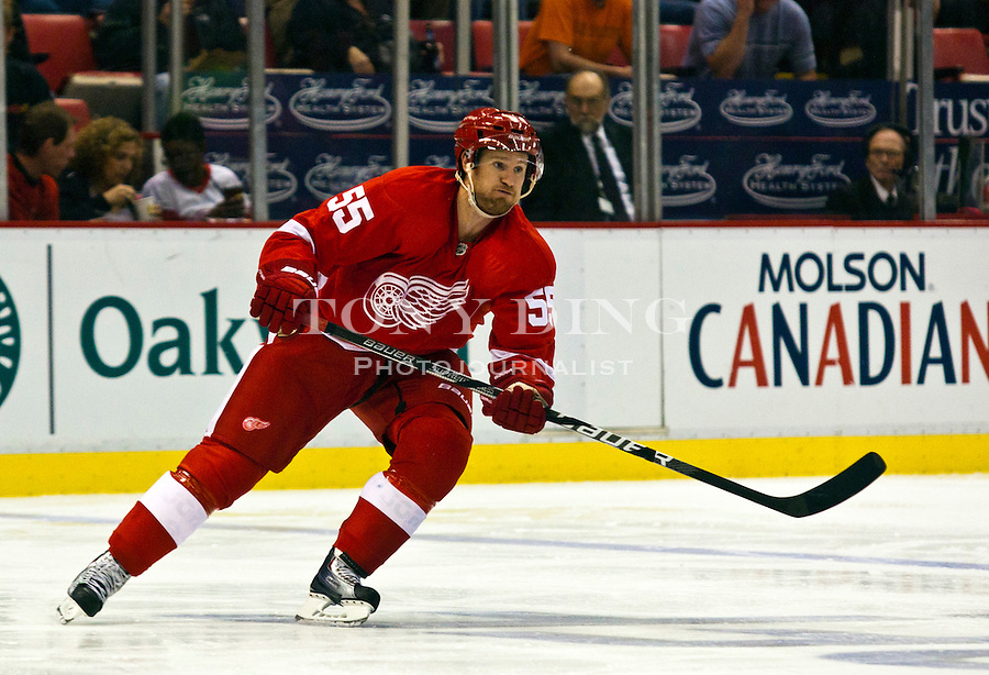 12 October 2010: Detroit Red Wings defenseman Niklas Kronwall (55) skates in the second period of the Colorado Avalanche at Detroit Red Wings NHL hockey game, at Joe Louis Arena, in Detroit, MI...***** Editorial Use Only *****