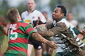 C. Tagikakibau looks to push off the tackle of S. Kennedy. Counties Manukau Premier 1 McNamara Cup round 2 rugby game between Manurewa & Waiuku played at Mountfort Park, Manurewa on the 30th of June 2007. Manurewa led 19 - 3 at halftime and went on to win 31 - 3.