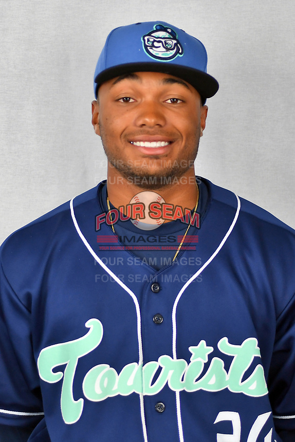 Asheville Tourists outfielder Daniel Montano (24) during media day at McCormick Field on April 2, 2019 in Asheville, North Carolina. (Tony Farlow/Four Seam Images)