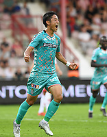 KORTRIJK , BELGIUM - AUGUST 03 : Ryota Morioka of Charleroi pictured celebrating after scoring the 0-1 for Charleroi during the Jupiler Pro League match day 2 between Kv Kortrijk and Sporting Charleroi on August 03 , 2019 in Kortrijk , Belgium . ( Photo by David Catry / Isosport )
