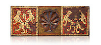 Gothic decorative painted beam panels with lions and a carved syalise tree, Tempera on wood. National Museum of Catalan Art (MNAC), Barcelona, Spain. Against a white background.