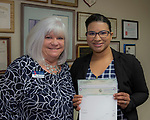 Nicole Barnes, right, and Board Member Amy Shocket during the Nevada Women's Fund Scholarship distribution, June 20, 2019.