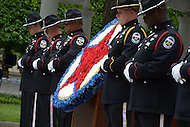 Washington, DC - May 15, 2014: Officers from the Louisville, KY police department participate in the wreath laying ceremony at the National Law Enforcement Officers Memorial in the District of Columbia. The ceremony was part of National Police Week activities. (Photo by Don Baxter/Media Images International)