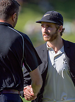 Kane Williamson shakes hands with NZ manager Mike Sandle. Day One of the first test between the New Zealand Black Caps and South Africa Proteas at Hawkins Basin Reserve in Wellington, New Zealand on Thursday, 16 March 2017. Photo: Dave Lintott / lintottphoto.co.nz