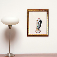 "Kroll: Woodpecker on Vase, Digital Print, Image Dims. 14"" x 11"", Framed Dims. 16.5"" x 13"""