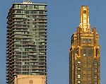 Chicago's Aqua tower, left, and the gold-tipped Carbide & Carbon Building, as seen from the Chicago Architecture Foundation River Cruise April 5, 2016. (Photo by Jamie Moncrief)