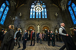 © Joel Goodman - 07973 332324. 05/01/2018. Manchester, UK. A police honour guard lines the entrance to the Great Hall as guests arrive . Police officers and railway workers who came to the aid of victims in the wake of the terrorist attack at an Ariana Grande concert at the Manchester Arena in May 2017 are honoured at a commendation ceremony at the Great Hall at Manchester Town Hall. Amongst those honoured are officers from British Transport Police and Northern Rail staff . Photo credit : Joel Goodman