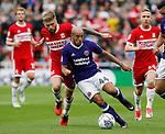 Samir Carruthers of Sheffield Utd tussles with Adam Clayton of Middlesbrough during the Championship match at the Riverside Stadium, Middlesbrough. Picture date: August 12th 2017. Picture credit should read: Simon Bellis/Sportimage