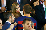 Queen Letizia of Spain jokes with FC Barcelona's Gerard Pique and his sons during Spanish Kings Cup Final match. May 22,2016. (ALTERPHOTOS/Acero)