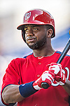 23 February 2013: Washington Nationals outfielder Denard Span awaits leading off the season of Spring Training against the New York Mets at Tradition Field in Port St. Lucie, Florida. The Mets defeated the Nationals 5-3 in their Grapefruit League Opening Day game. Mandatory Credit: Ed Wolfstein Photo *** RAW (NEF) Image File Available ***