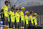 Wallonie-Bruxelles team on stage at sign on before the 2019 Gent-Wevelgem in Flanders Fields running 252km from Deinze to Wevelgem, Belgium. 31st March 2019.<br /> Picture: Eoin Clarke | Cyclefile<br /> <br /> All photos usage must carry mandatory copyright credit (© Cyclefile | Eoin Clarke)