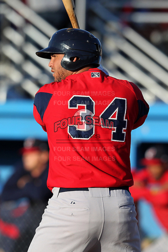 Pawtucket Red Sox infielder Mauro Gomez #34 at bat during a game against the Empire State Yankees at Dwyer Stadium on May 5, 2012 in Batavia, New York.  Pawtucket defeated Empire State 9-3.  (Mike Janes/Four Seam Images)