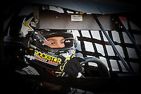 A driver mentally prepares for his race at the Bullring at Las Vegas Motor Speedway.