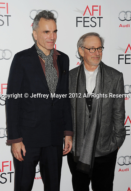 HOLLYWOOD, CA - NOVEMBER 08: Daniel Day-Lewis and Steven Spielberg arrive at the 'Lincoln' premiere during the 2012 AFI FEST at Grauman's Chinese Theatre on November 8, 2012 in Hollywood, California.