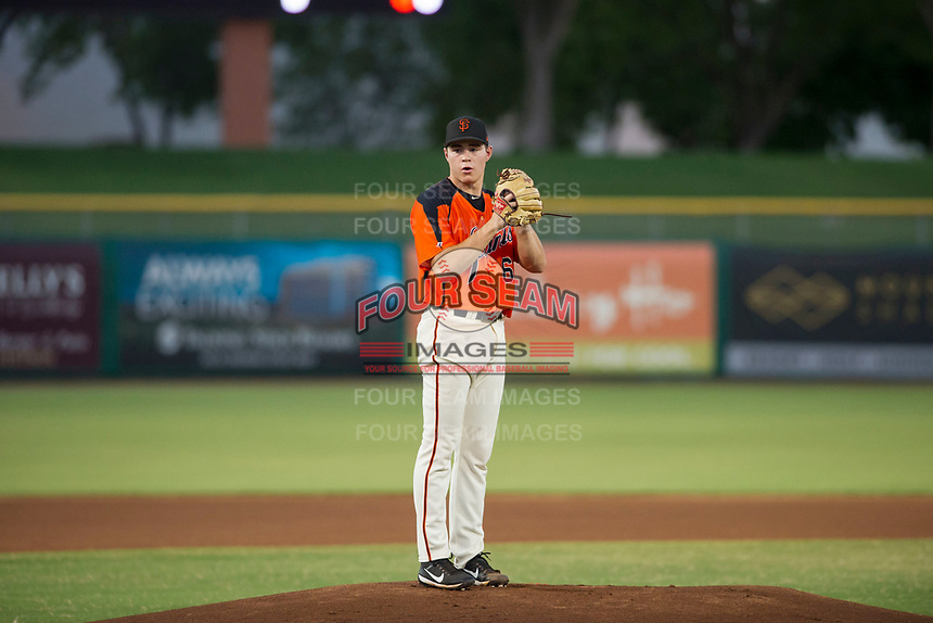 AZL Giants starting pitcher Seth Corry (63) prepares to deliver a pitch to the plate against the AZL Rangers on August 22 at Scottsdale Stadium in Scottsdale, Arizona. AZL Rangers defeated the AZL Giants 7-5. (Zachary Lucy/Four Seam Images via AP Images)