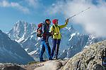 Trekking in the Aiguilles Rouges National Nature Reserve, Behind the peaks Grandes Jorasses and Dent du Géant, Chamonix, Haute-Savoie department, France