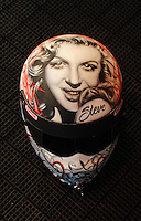 Feb. 10, 2012; Pomona, CA, USA; Detailed view of the likeness of Marilyn Monroe on the helmet of NHRA top fuel dragster driver Steve Torrence (not pictured) during qualifying at the Winternationals at Auto Club Raceway at Pomona. Mandatory Credit: Mark J. Rebilas-