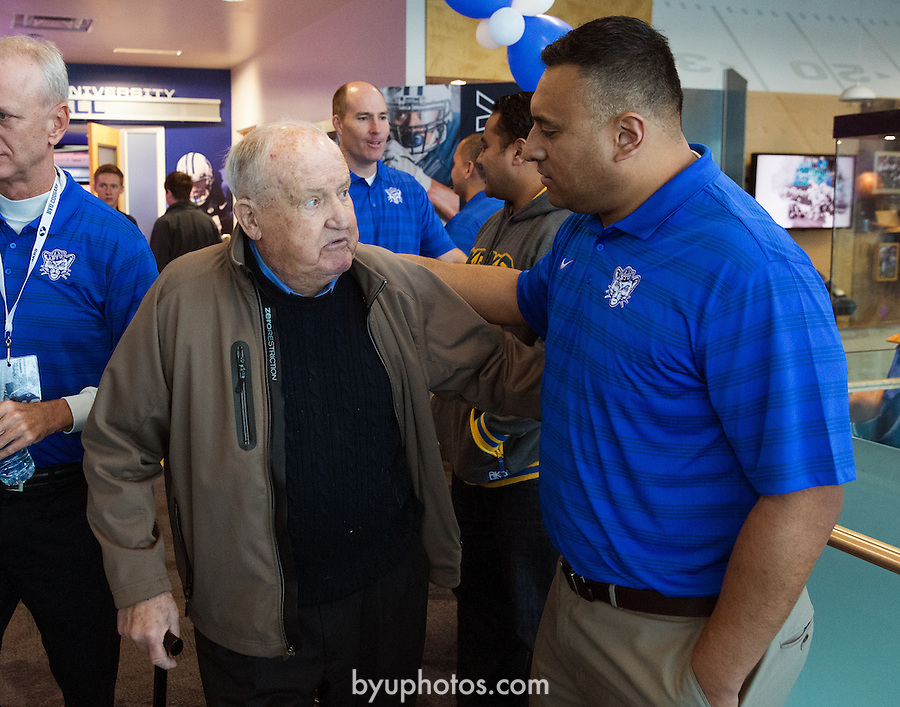 16FTB National Signing Day 0346<br /> <br /> 16FTB National Signing Day<br /> <br /> BYU Football National Signing Day. Kalani Sitake, Ty Detmer, Ilaisa Tuiaki, Ed Lamb, Lavell Edwards<br /> <br /> February 3, 2016<br /> <br /> Photo by Jaren Wilkey/BYU<br /> <br /> &copy; BYU PHOTO 2016<br /> All Rights Reserved<br /> photo@byu.edu  (801)422-7322