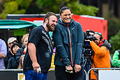"""16th March 2018, Retro Sports Facility, Christchurch, New Zealand;  Tom Walsh (NZ) and Valeria Adams (NZL) during """"The Big Shot""""  shot-put competition"""