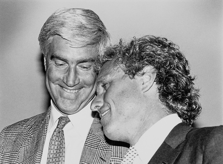 Rep. Tom McMillen, D-Md. and Rep. Joseph P. Kennedy II, D-Mass. on June 20, 1990. (Photo by Maureen Keating/CQ Roll Call)
