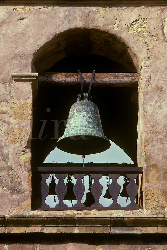 The church bell of the Carmel Mission in Carmel, California. Carmel Mission, Carmel, California, USA
