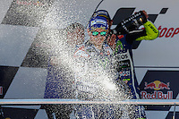 Jorge Lorenzo celebrating in Motorcycle Championship GP, in Jerez, Spain. April 24, 2016