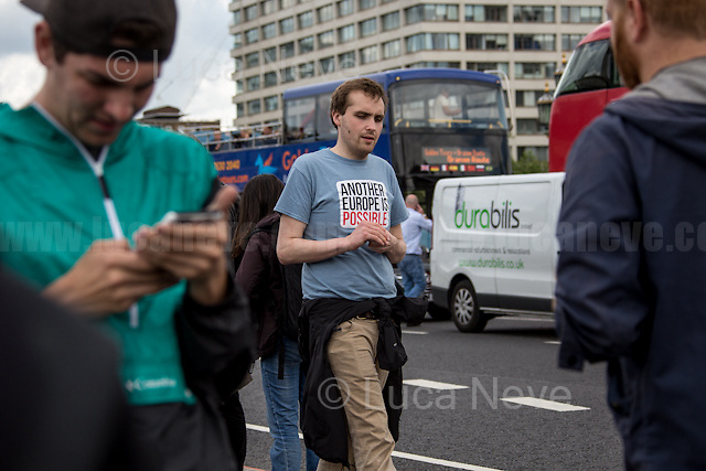 """Michael Chessum (British writer, socialist activist and former ULU President).<br /> <br /> London, 15/06/2016. Today, the River Thames outside the Houses of Parliament was the stage of an epic """"naval battle"""" between the """"Brexit Flotilla"""", lead by the UKIP leader Nigel Farage MEP, and the """"In Flotilla"""", lead by the Irish singer-songwriter Bob Geldof KBE. Nigel Farage MEP lead a flotilla of fishing trawlers from Southend in Essex sailing to the River Thames in front of the British Parliament to call for the UK's withdrawal from the EU and to repossess """"our water back"""". The protest and the counter protest were set to coincide with Prime Minister David Cameron question time.<br /> <br /> For more information about the """"Leave the EU"""" campaigns (for Brexit) please click here:  http://leave.eu/ & http://www.voteleavetakecontrol.org/<br /> <br /> For more information about the """"Remain In the EU"""" campaign (to stay in the EU) please click here: http://www.strongerin.co.uk/"""