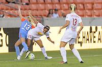 Houston, TX - Saturday July 30, 2016: Denise O'Sullivan, Jaelene Hinkle during a regular season National Women's Soccer League (NWSL) match between the Houston Dash and the Western New York Flash at BBVA Compass Stadium.