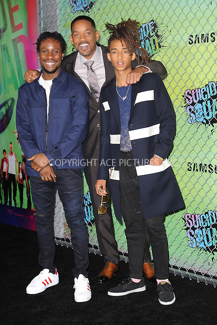 www.acepixs.com<br /> August 1, 2016  New York City<br /> <br /> Will Smith and Jaden Smith attending the world premiere of Warner Bros. Pictures and Atlas Entertainment&rsquo;s 'Suicide Squad' at the Beacon Theatre on August 1, 2016 in New York City.<br /> <br /> <br /> Credit: Kristin Callahan/ACE Pictures<br /> <br /> <br /> Tel: 646 769 0430<br /> Email: info@acepixs.com