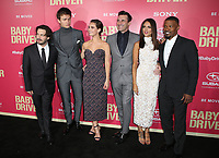 "14 June 2017 - Los Angeles, California - Edgar Wright, Ansel Elgort, Lily James, Jon Hamm, Eiza Gonzalez, Jaime Foxx.""Baby Driver"" Los Angeles Premiere held at the Ace Hotel. Photo Credit: F. Sadou/AdMedia"