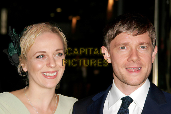 "AMANDA ABBINGTON & MARTIN FREEMAN.World Premiere of ""How to Lose Friends and Alienate People"" at the Empire, Leicester Square, London, England..September 24th 2008.headshot portrait mouth open .CAP/AH.©Adam Houghton/Capital Pictures."