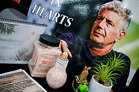 NEW YORK, NY - JUNE 25: Anthony Bourdain picture is seen at the Himalicions gourmet salt stand during the Summer Fancy Food Show at the Javits Center in the borough of Manhattan on June 23, 2019 in New York, The Summer Fancy Food Show is the largest and biggest specialty food industry event in the continent (Photo by Eduardo MunozAlvarezVIEWpress/Corbis via Getty Image
