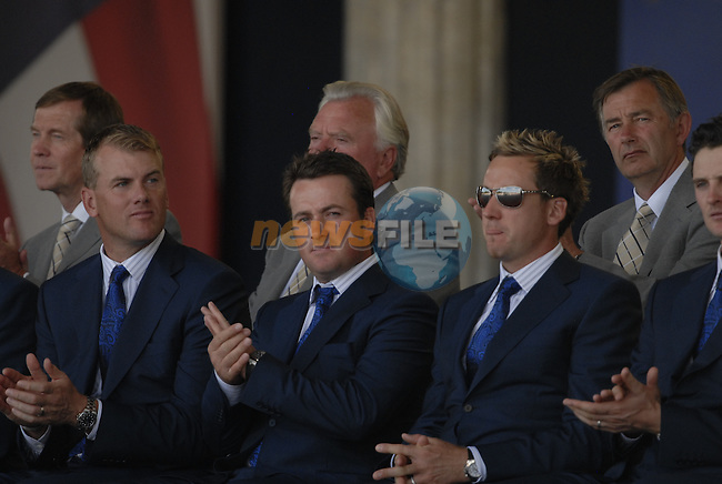 European Team members l-r Robert Karlsson, Graeme McDowell and Ian Poulter, during the opening ceremony on Practice Day2 of the Ryder Cup at Valhalla Golf Club, Louisville, Kentucky, USA, 18th September 2008 (Photo by Eoin Clarke/GOLFFILE)