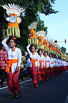 DENPASAR, BALI - JUNI 11 : Balinese woman hold fruits during 38th Bali Arts Festival parade at Denpasar on June 11, 2016 in Bali, Indonesia. The Bali Art Festival took place June 11 until July 9, 2016, involving thousands of Balinese artists, arts groups from Indonesia and a group of art from Europe, Asia, Africa and America. (Photo by Muhammad Fauzy Chaniago/Sijori Images/AFLO)