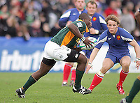 South African flanker Thiliphaut Marole on the attack during the Division A U19 World Championship clash against France at Ravenhill.