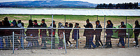 Refugees and migrants wait in line to enter a refugee camp at Idomeni village, Greece, as they wait to cross the  Greece-Macedonian border,8 Febraury 2016.<br /> Hundreds of refugees arrive at Idomeni and cross the border between Greece and Macedonian on their journey to North Europe.