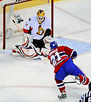 11 November 2008: Montreal Canadiens' left wing forward Christopher Higgins (21) scores a shorthanded goal in the first period, the first of his three goals against the Ottawa Senators at the Bell Centre, in Montreal, Quebec, Canada. Higgins' hat-trick was the first of his NHL career as the Canadiens shut out the Senators 4-0. ***Editorial Sales Only***..Mandatory Photo Credit: Ed Wolfstein Photo *** Editorial Sales through Icon Sports Media *** www.iconsportsmedia.com