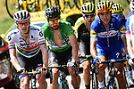 The breakaway group including Daryl Impey (RSA) Mitchelton-Scott, Green Jersey Peter Sagan (SVK) Bora-Hansgrohe and Philippe Gilbert (BEL) Quick-Step Floors during Stage 10 of the 2018 Tour de France running 158.5km from Annecy to Le Grand-Bornand, France. 17th July 2018. <br /> Picture: ASO/Alex Broadway | Cyclefile<br /> All photos usage must carry mandatory copyright credit (&copy; Cyclefile | ASO/Alex Broadway)