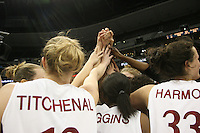 20 March 2006: Christy Titchenal, Candice Wiggins and Jillian Harmon during Stanford's 88-70 win over Florida State in the second round of the NCAA Women's Basketball championships at the Pepsi Center in Denver, CO.