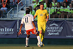 01 August 2015: Tampa Bay's Corey Hertzog (right) and Carolina's Tiyi Shipalane (RSA) (left). The Carolina RailHawks hosted the Tampa Bay Rowdies FC at WakeMed Stadium in Cary, North Carolina in a North American Soccer League 2015 Fall Season match. The game ended in a 1-1 tie.