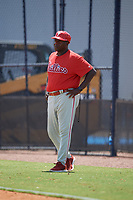 GCL Phillies East coach Charlie Hayes (13) during a Gulf Coast League game against the GCL Yankees East on July 31, 2019 at Yankees Minor League Complex in Tampa, Florida.  GCL Yankees East defeated the GCL Phillies East 11-0 in the first game of a doubleheader.  (Mike Janes/Four Seam Images)