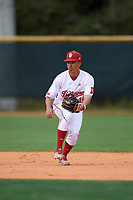 Indiana Hoosiers shortstop Justin Walker (10) during warmups before a game against the Rutgers Scarlet Knights on February 23, 2018 at North Charlotte Regional Park in Port Charlotte, Florida.  Indiana defeated Rutgers 7-6.  (Mike Janes/Four Seam Images)