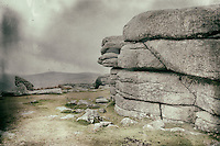 Combestone Tor, Dartmoor, Devon, processed to emulate wet plate technique.