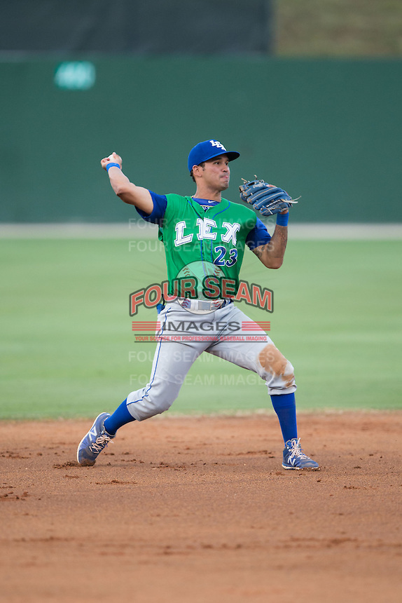 Humberto Arteaga (23) of the Lexington Legends makes a throw to first base against the Kannapolis Intimidators at CMC-Northeast Stadium on May 26, 2015 in Kannapolis, North Carolina.  The Intimidators defeated the Legends 4-1.  (Brian Westerholt/Four Seam Images)