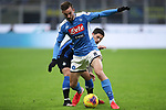 Fabian Ruiz of Napoli shields the ball from the challenge of Stefano Sensi of Inter during the Coppa Italia match at Giuseppe Meazza, Milan. Picture date: 12th February 2020. Picture credit should read: Jonathan Moscrop/Sportimage